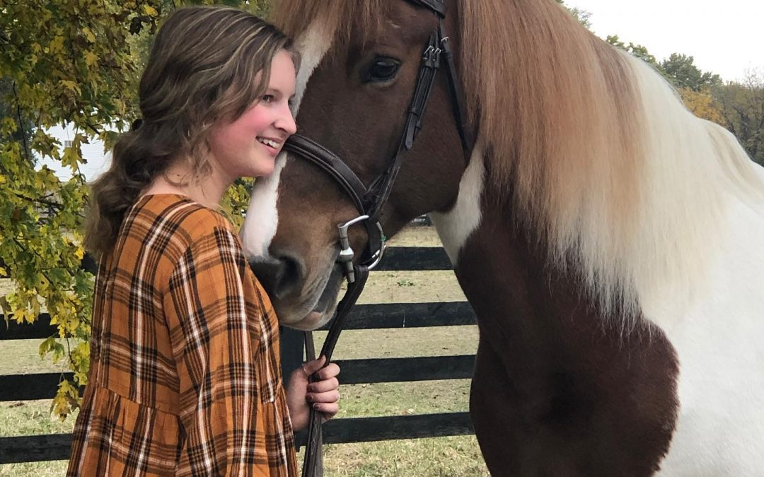 Makenna Holt and her PMU rescue horse, Denali