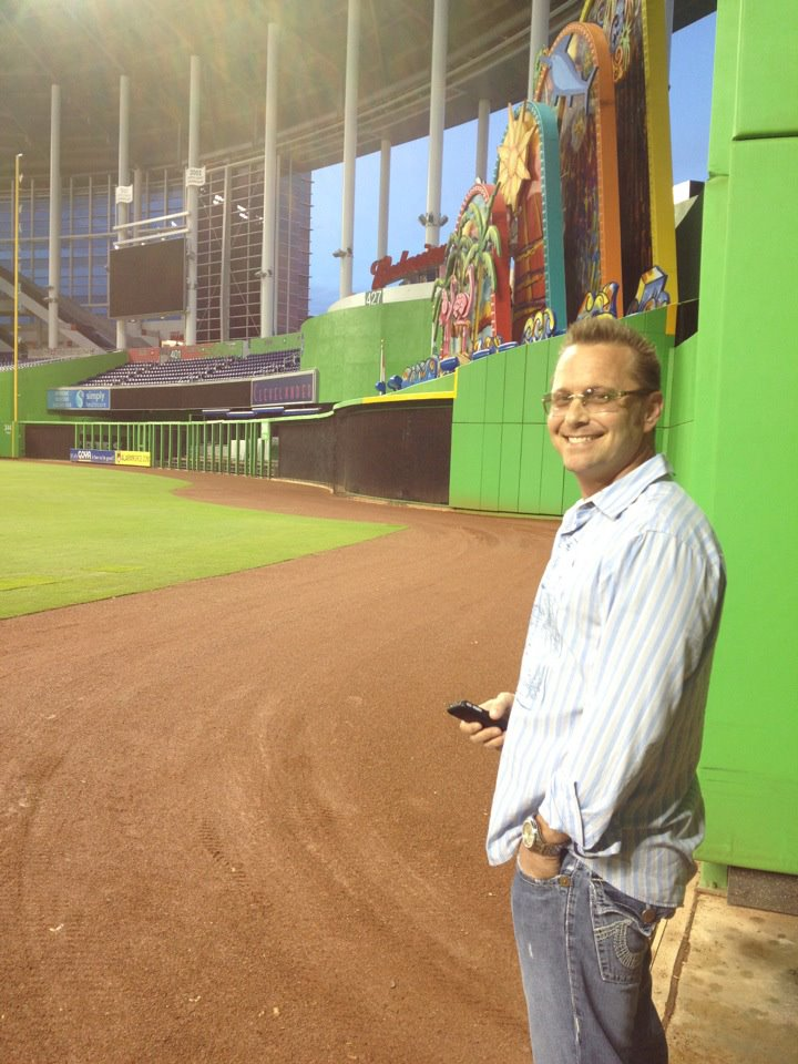 Alan in his element -- a sports stadium